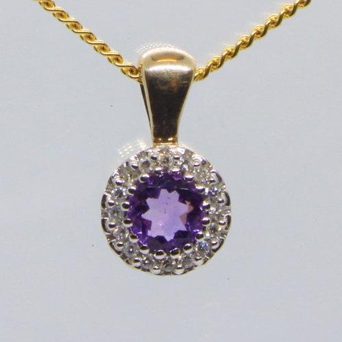 *9ct gold Amethyst and Diamond pendant