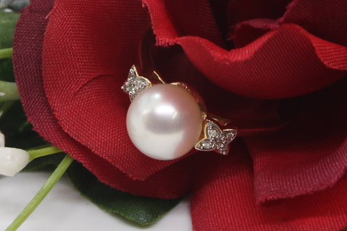 * 9ct gold Pearl and Diamond ring