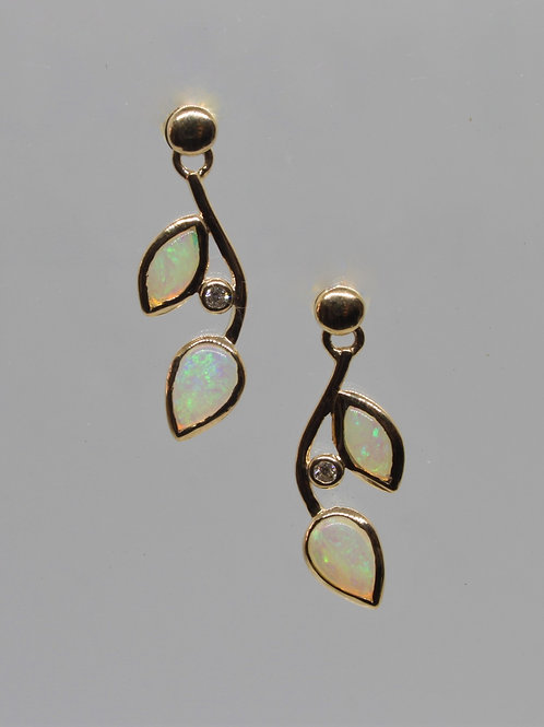*9ct gold Opal and Diamond drop earrings