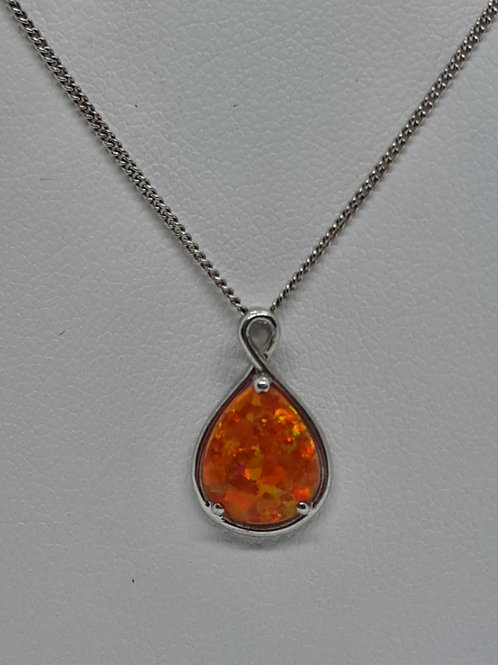 Silver created opal pendant and chain