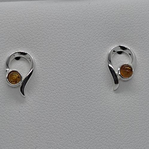 Silver Amber stud earrings
