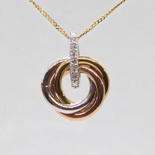 *9ct gold Diamond circle pendant & chain