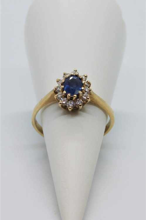 9ct gold Sapphire and Diamond ring