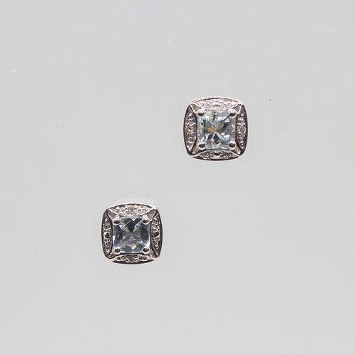 * 9ct gold Aquamarine and Diamond stud earrings