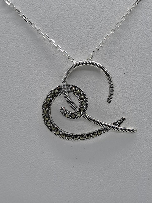 Silver marcasite pendant and chain