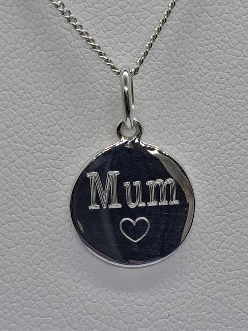 Silver Mum/love you pendant & chain