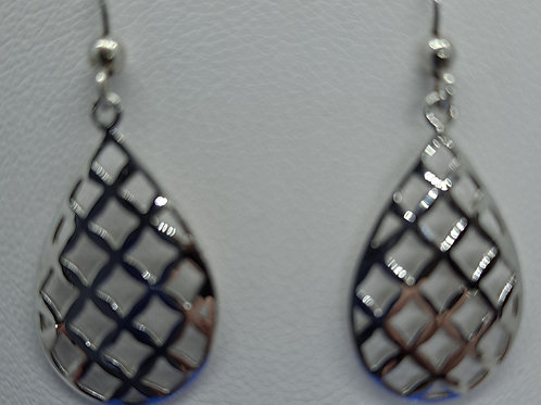 Silver weave drop earrings