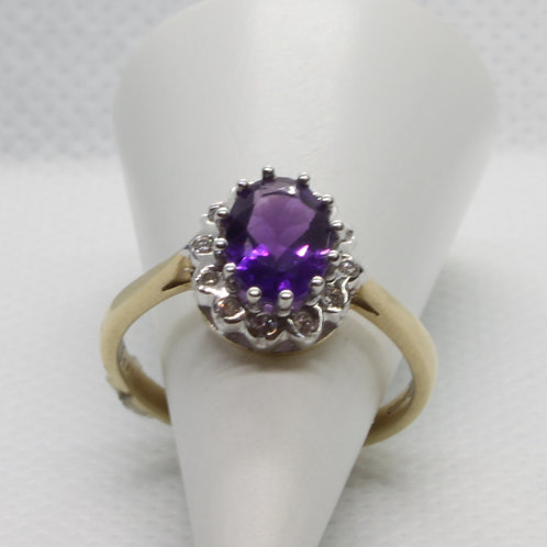 *9ct gold Amethyst and Diamond ring