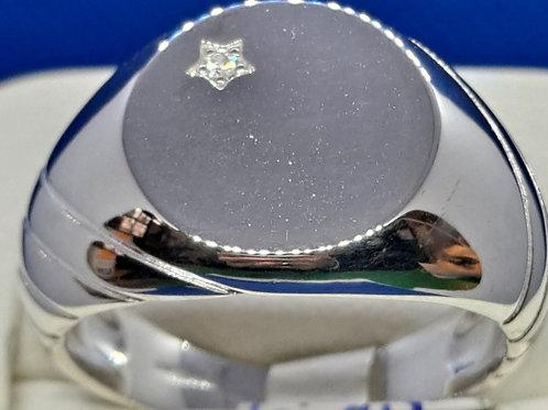 Silver CZ Signet Ring