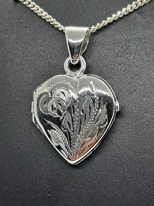 Siver engraved heart locket & chain