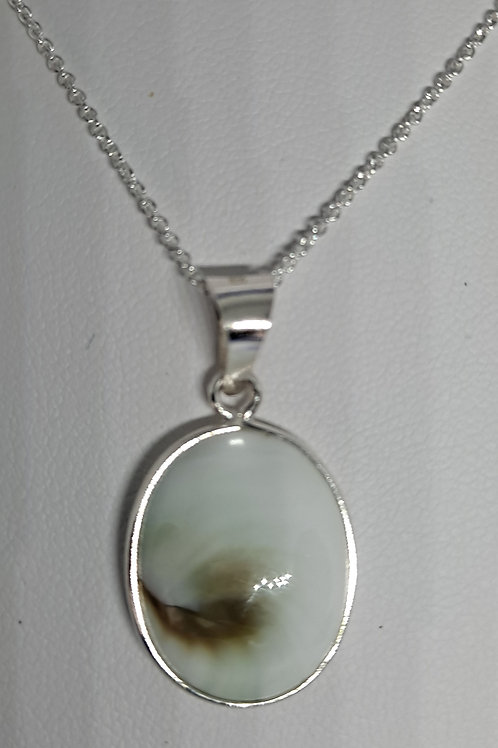 Silver real stone oval pendant and chain