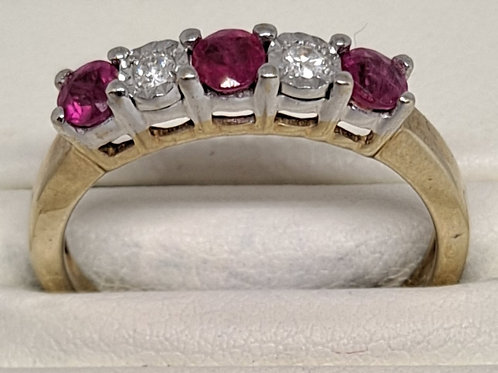 9ct gold ruby and diamond five stone ring