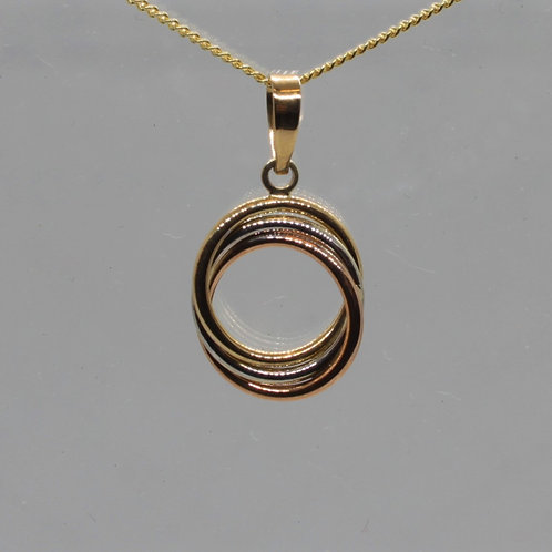 * 9ct gold circle pendant and chain.