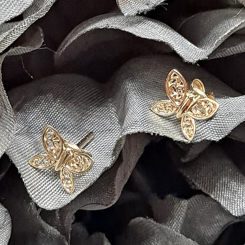 9ct butterfly studs