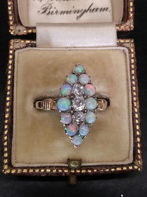 15ct opal & diamond ring