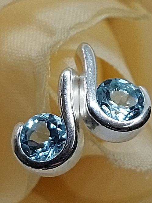Silver blue cz stud earrings