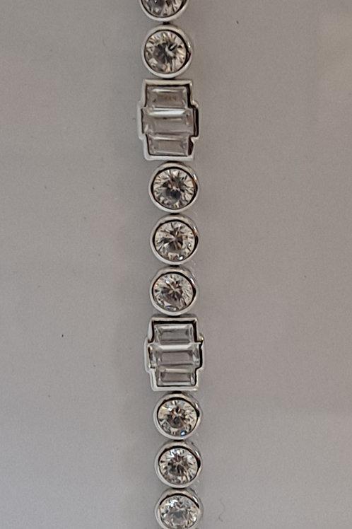 Silver stone set bracelet