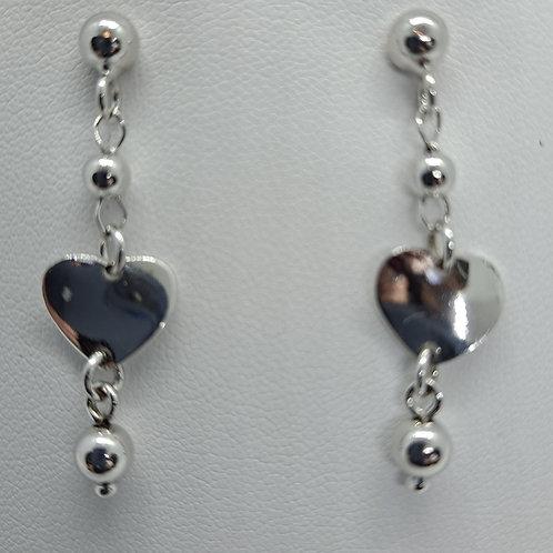 Silver heart drop earrings