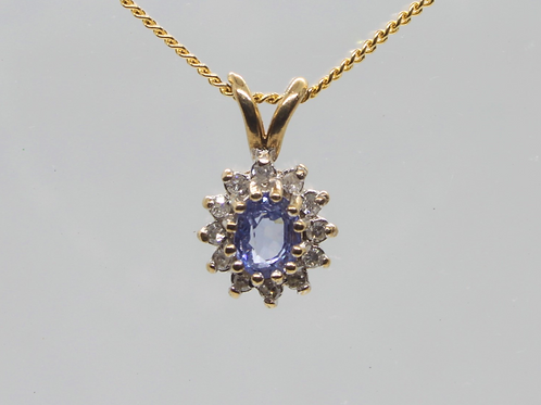 *9ct gold Sapphire and diamond pendant