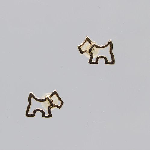 * 9ct gold Scottie  Dog earrings