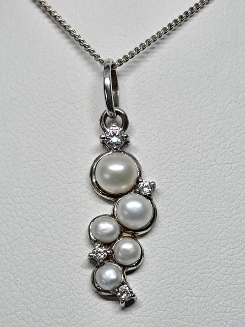 Silver fresh-water pearl and cz fancy pendant