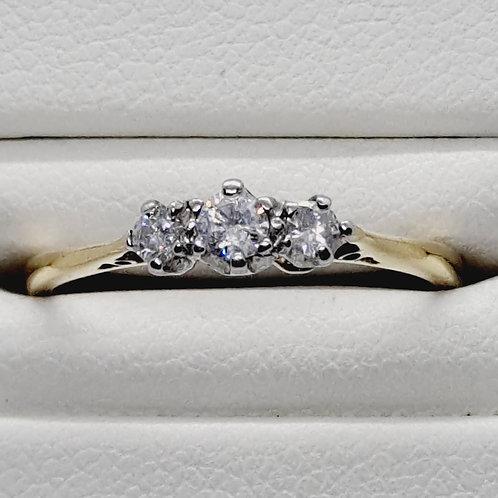 """9ct diamond three stone ring"