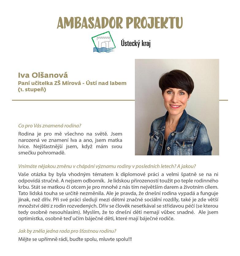 Ambasador projektu Život a rodina Iva Olšanová