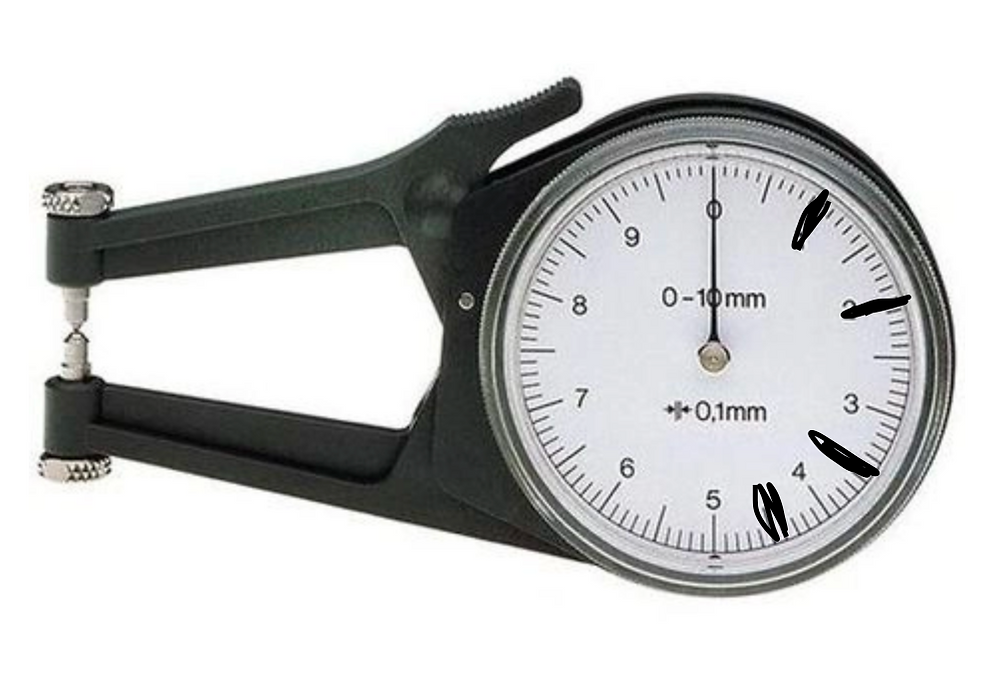 A pair of quick probe mechanical external measurement calipers with marks on 1, 2, 3.5 and 4.5.