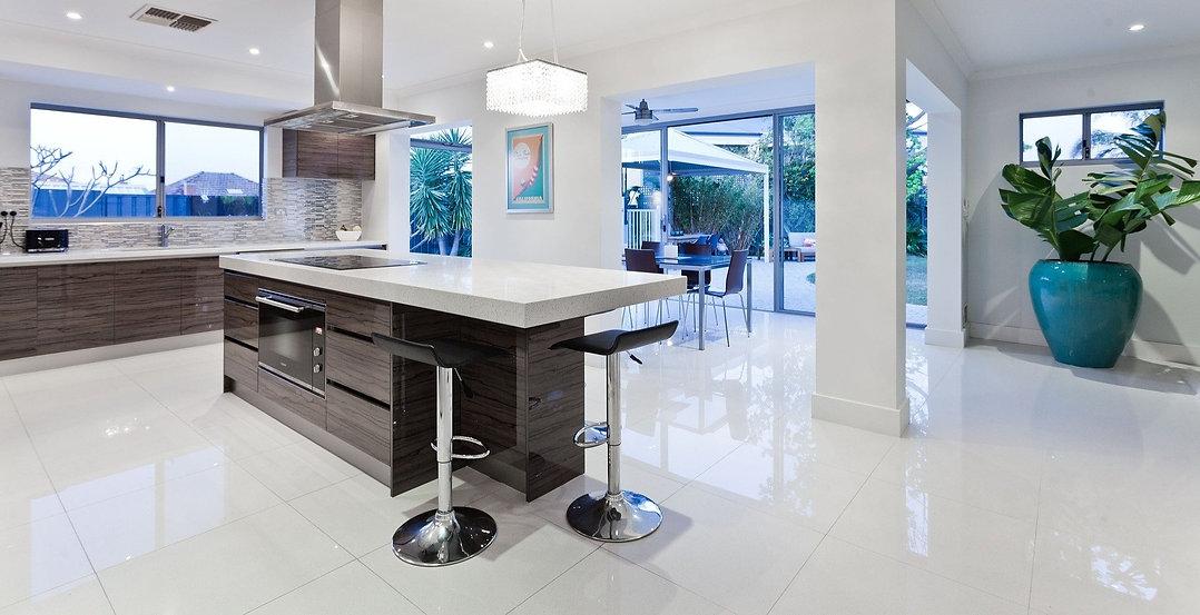Quartz worktop & floor tiles
