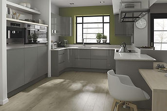 Remo Gloss Dust Grey. J Pull Handle, MDF