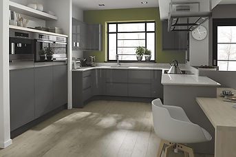 Remo Gloss Silver. J Pull Handle, MDF Do