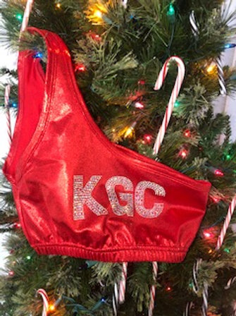 Red Shimmer KGC Logo Sports Bra