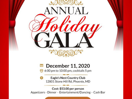 Holiday Gala moved to Columbus Gardens Nottingham, MD.