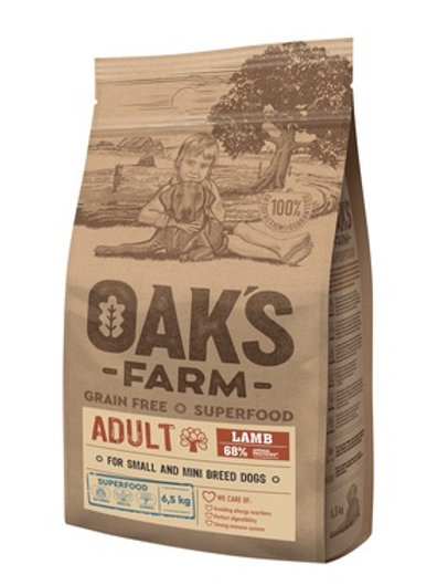 OAKS FARM беззерновой, для взрослых собак мелких и карликовых пород, с ягнёнком