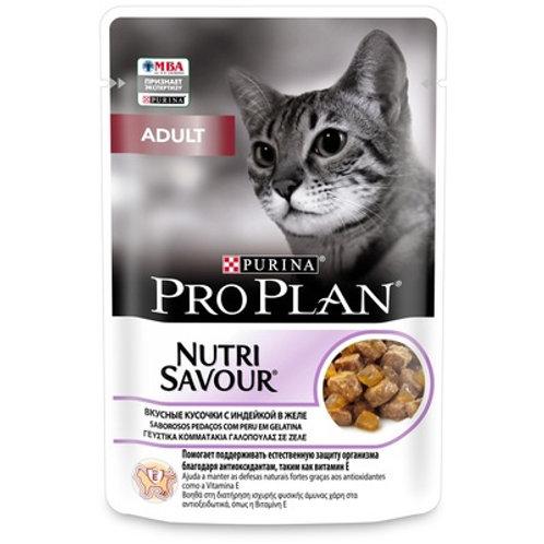 Purina Pro Plan для взрослых кошек, кусочки с индейкой в желе