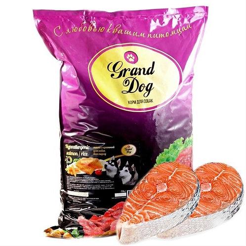 Grand Dog Hypoallergenic лосось/рис Для всех пород собак от года