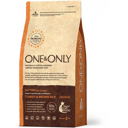 One&Only Turkey & Rice Kitten Ван энд Онли Сухой низкозерновой корм для котят с