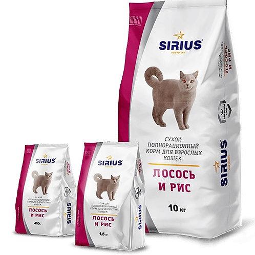 SIRIUS СИРИУС Сухой корм для взрослых кошек  Лосось и рис