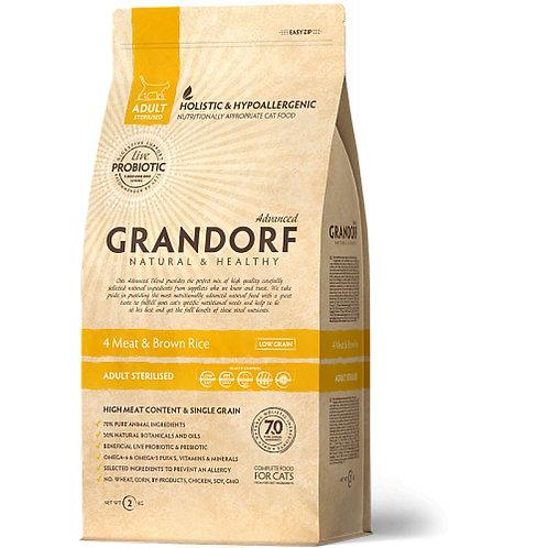 Grandorf 4Meat & Brown Rice Adult Sterilised Грандорф Корм для стерилизованных к