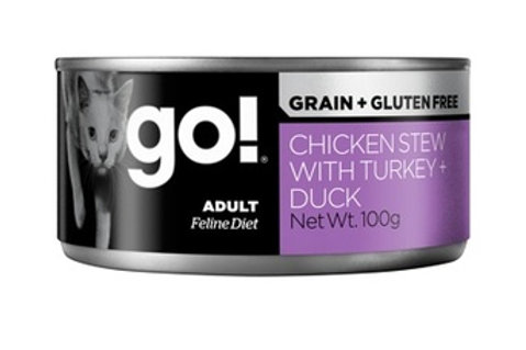 GO Гоу консервы беззерновые с тушеной курицей, индейкой и мясом утки для кошек,