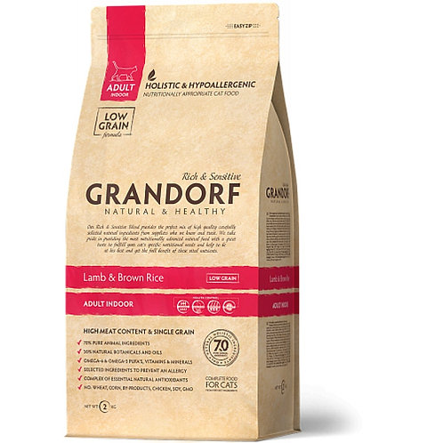 Grandorf Lamb & Rice Adult Indoor Карми Корм для домашних кошек с ягненком и рис