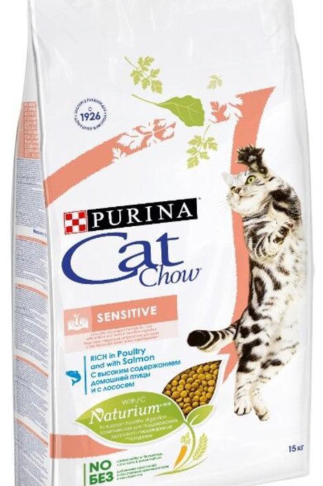 Cat Chow sensitive salmon для кошек для чувствительного пищеварения с лососем