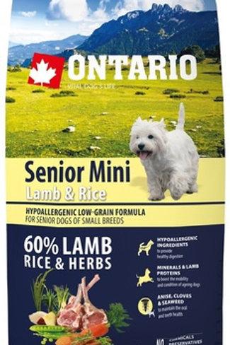 Ontario для пожилых собак мелких пород ягненок и рис