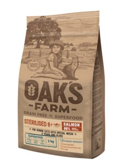OAKS FARM беззерновой, для стерилизованных пожилых кошек от 8 лет, с лососем