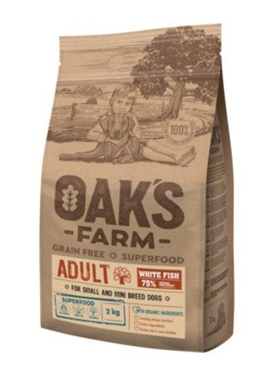 OAKS FARM беззерновой, для взрослых собак мелких и карликовых  пород, белая рыба