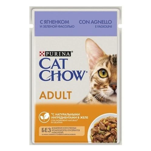 Cat Chow для взрослых котов с ягненком и зеленой фасолью в соусе