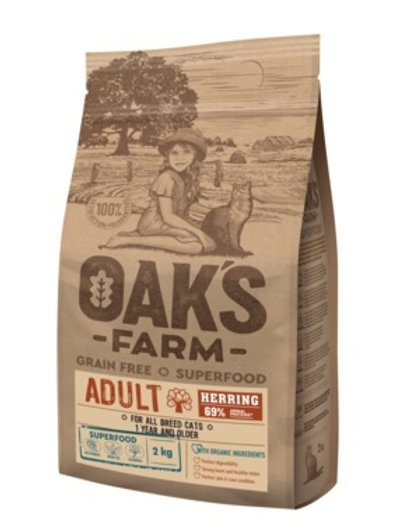 OAKS FARM беззерновой, для взрослых кошек от 1 года, с сельдью