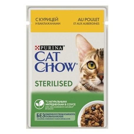 Cat Chow для стерилизованных кошек котов, с курицей и баклажанами в соусе