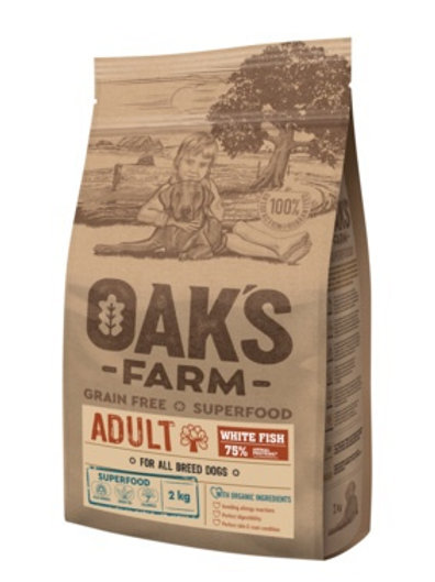 OAKS FARM беззерновой, для взрослых собак всех пород, с белой рыбой