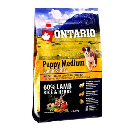 Ontario для средних щенков с ягненком и рисом